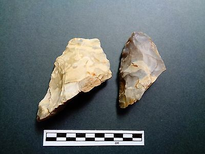 British Flint: 2 Nice Pieces of Ax - Acheulean and Neolithic   - Look!