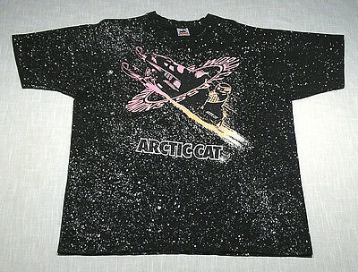Vintage ARCTIC CAT Snowmobile T-Shirt (80s/90s) SNOW PRINT! TOTALLY AWESOME! L