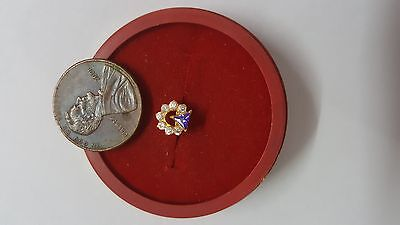 22K Gold Nose Pin 7 White Stones 1 Violet Triangle Jewelry for sale Girls #EWBSH