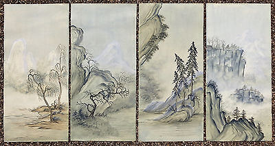 CINA (China): Lot of 4 Old Chinese watercolor landscape painting