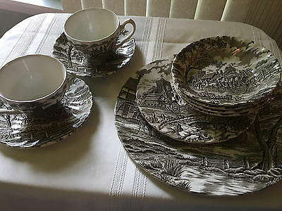 Myott Royal Mail Brown & White Ten Pieces Plates Bowls Cups