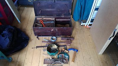 Vintage Wooden Carpenters Tool Box With Tools With Metal Side Handles