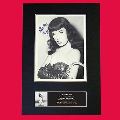 BETTIE PAGE Very Rare Pinup Quality Autograph Mounted Signed Photo PRINT A4 662