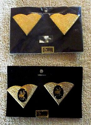 2 Pair of Coordinating Wilmarth Western Square Dancing Collar Tips. Gold Tone