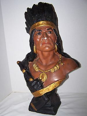 Antique Cigar Tobacco Store American Indian Bust w/Hatchet Chalkware Statue RARE