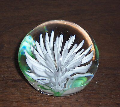 Art Glass Globe Paperweight with White Flower & Green Leaves - Ground - About 2""