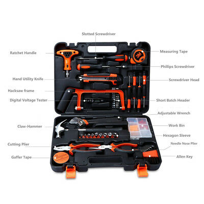 US 82Pcs Home Car Repair Hardware Tool Set Spanner Kit Hacksaw Hand tool + Box