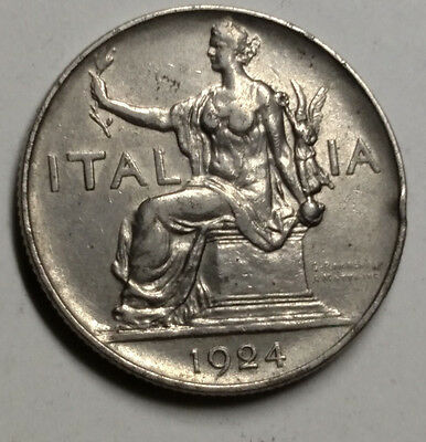 1924 1 Lire Coin of Italy