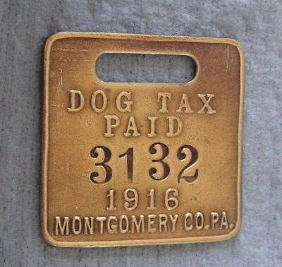 Vintage 1916 DOG TAX (LICENSE) Brass Tag: MONTGOMERY COUNTY PA Philadelphia Area