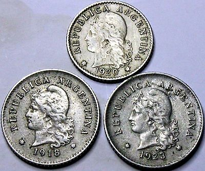 Argentina 5 and 10 centavos coins 1918 1920 1923