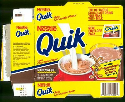 Nestle Quik Box with Bunnytown Cut Outs on back, 1989