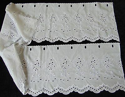 Vintage French Cafe Net Curtain Pelmet Cotton Embroidered Tree 172 X 27Cm- New