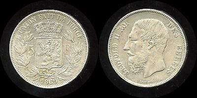 BELGIUM 1869 Leopold II 5 Francs Silver Coin KM #24