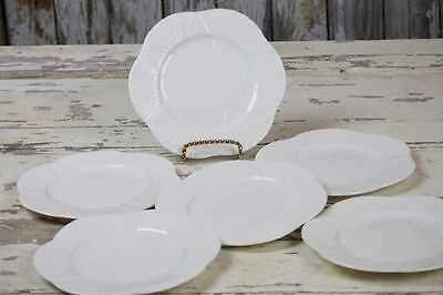 "Shelley Dainty White Plates Salad Lunch 7.25"" Set of 6 Plates No Trim Vintage"