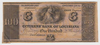 Citizens' Bank Of Louisiana at New Orleans c1850 $100 Bank Note