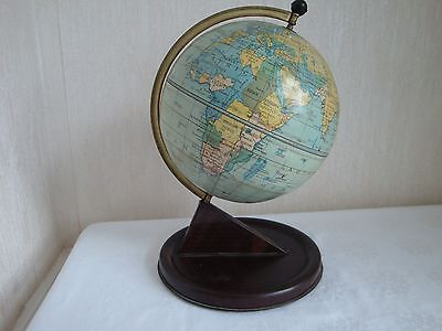 RARE VINTAGE 1950s CHAD VALLEY TINPLATE CLOCK SETTING WORLD GLOBE QUEEN MOTHER
