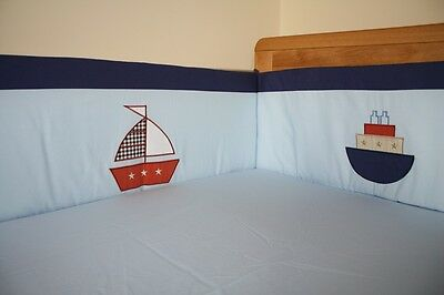 NEW blue baby cotbed/cot BUMPER (nursery, bedding) Boats Transport