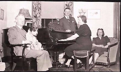 Vintage Photograph '39 Beautiful Dog Puppy Woman Man Piano Connecticut Old Photo