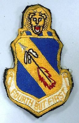 USAF AIR FORCE MILITARY PATCH 4th TACTICAL FIGHTER WING HOOK LOOP BACKING