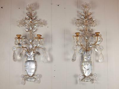 Beautiful & Impressive Pair of Bagues Style Rock Crystal Two Arm Sconces
