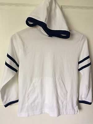 Hanna Andersson 130 White Cotton Lightweight Hoodie Unisex US Size 8 Kids
