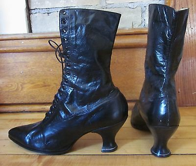 Vintage Victorian Edwardian Lace Up Womens Boots Black Leather Granny