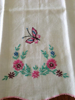 "Vintage DRESSER SCARF hand embroidered Butterfly Floral white Linen 11"" X 18"""