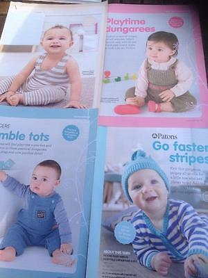 4 Baby/Childrens Knitting Patterns Dungarees, All-in-Ones, Hat Fair Isle