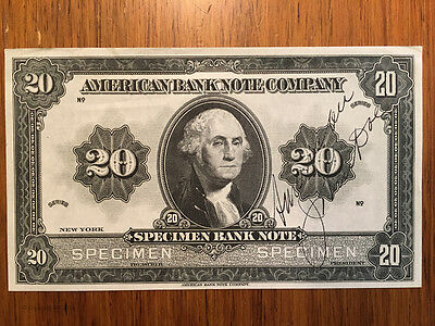 "American Banknote Co New York Specimen ""20"" Advertising Note"