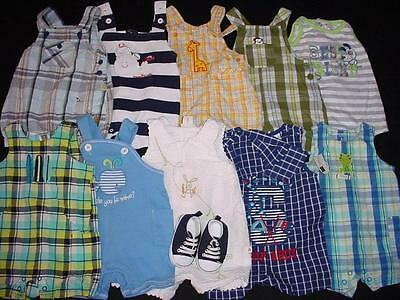 Used Baby Boy One Piece 0-3 Months Summer Overall Shorts Clothes Lot