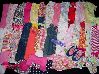 42pcs USED BABY GIRL 6-9 9 12 MONTHS SUMMER FALL CLOTHES LOT