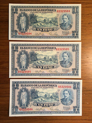 Colombia 1 Peso 1953 P-398 Trio of Sequential Notes UNC W&S