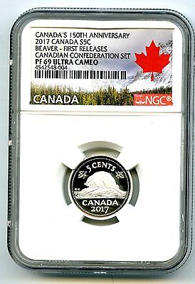 2017 Canada 15Oth Anniv 5 Cent Ngc Pf69 First Release .9999 Silver Proof Nickel