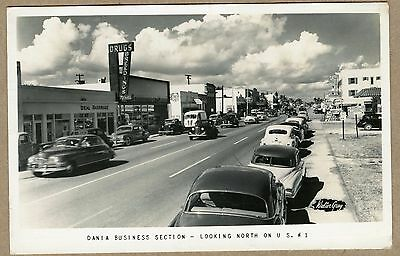 RPPC POSTCARD Dania Business Section FL US # 1 Old Cars 1952