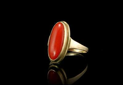 Antique Victorian Natural Red Coral 333 9K Gold Ring (051417100)