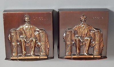 Pair Vintage Bookends ABRAHAM LINCOLN WASHINGTON MONUMENT Philadelphia Mfg Co