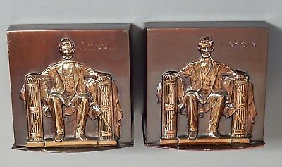 (Pair) Vintage Bookends Philadelphia Mfg Co ABRAHAM LINCOLN Bronzed Patina/Gold