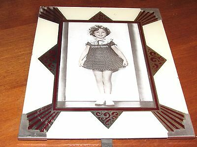 "Shirley Temple Art Deco 8"" X 10"" Reverse Glass Painted Picture Frame-Silvr,ivory"