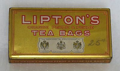 Vintage Lipton Lipton's Tea Bags Tin Metal Decorative Advertising Display Tin