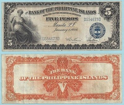 1928 Bank of the Philippine Islands 5 Pesos ~ P16 ~ VF