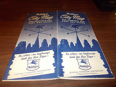 1940s Mobil San Francisco/ East Bay Cities Vintage Road Map