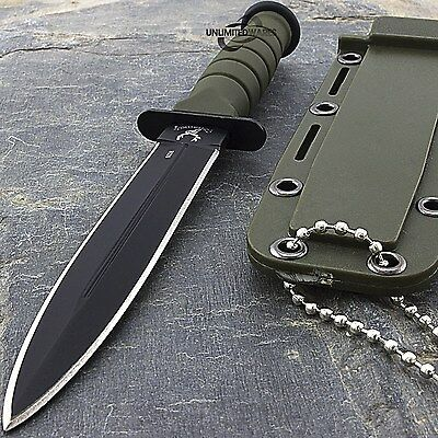 "6"" MILITARY GREEN FIXED BLADE NECK KNIFE WITH CHAIN & SHEATH Survival Camping"