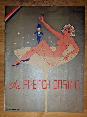 1935 Art Deco Restaurant Menu The French Casino NEW YORK CITY Nude Champagne NY