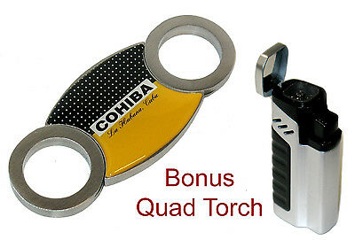 Stainless Steel Cohiba Guillotine Cigar Cutter w Bonus Quad Jet Torch Lighter