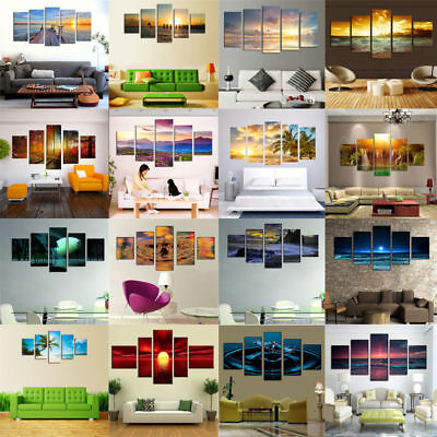 5 pcs Unframed Modern Art Oil Painting Print Canvas Picture Home Wall Room Decor