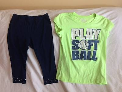 Justice Girls Size 7 Navy Cropped Leggings / Softball Theme T-Shirt Outfit