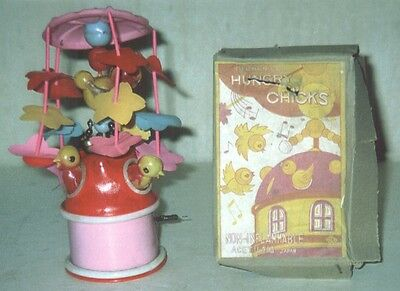 Vintage Hungry Chicks Wind Up Toy with Box Japan 1960's