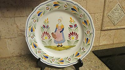 """Signed Henriot Quimper Dinner Wall Plate 10"""" France Woman"""