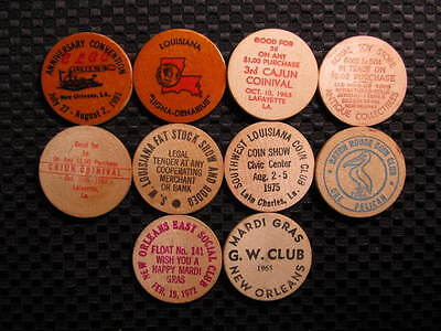 (10) Louisiana Wooden Nickel tokens - 10 LA Wooden Nickel Coins - LA Wood