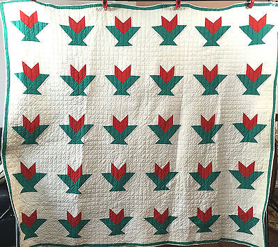 Antique Hand Sewn Flower or Cactus Basket Quilt from Late 1800's - Early 1900's